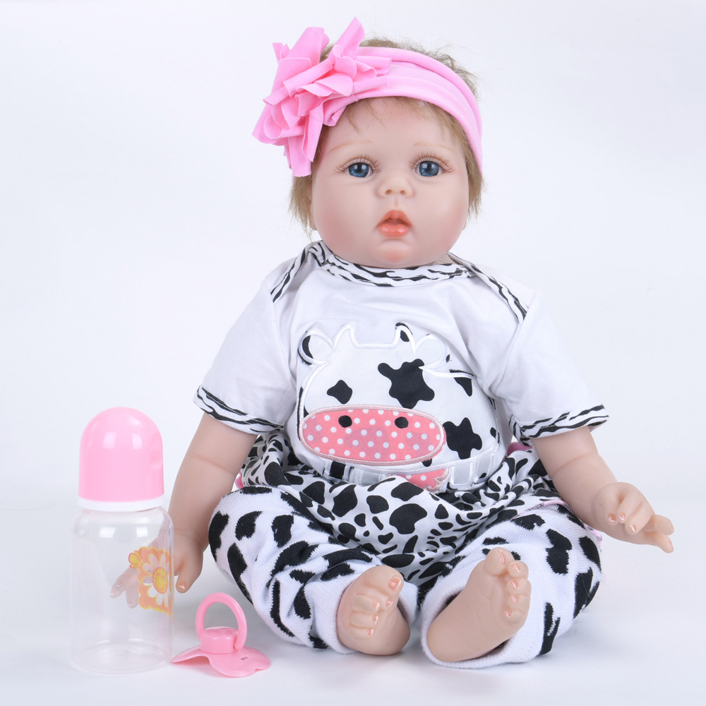 Lifelike Princess Girl Reborn Doll 22 inch Realistic Silicone Newborn Babies with Cloth Body Toy for Kids Birthday Xmas Gift pink romper 20 inch reborn babies girl lifelike silicone newborn dolls realistic doll toy with blue eyes kids birthday xmas gift