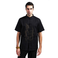 Black Traditional Chinese Men Embroidery Shirt Cotton Linen Kung Fu Shirt Tang Suit Top With Dragon