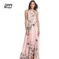 Summer Lace Chiffon Dress Women Floral Print Women Dress Sleeveless Maxi Long Beach Dresses Elegant Casual