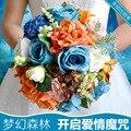 Романтический Искусственного шелка пион Маленькая Дейзи Украшение Стола Цветок с листьев ягоды свадебный синий свадебный букет