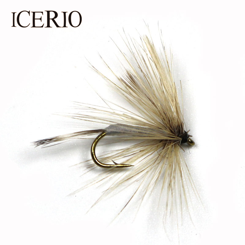ICERIO 8PCS Fly Fishing Trout Fishing Mosquito Dry Hook May Fly #12