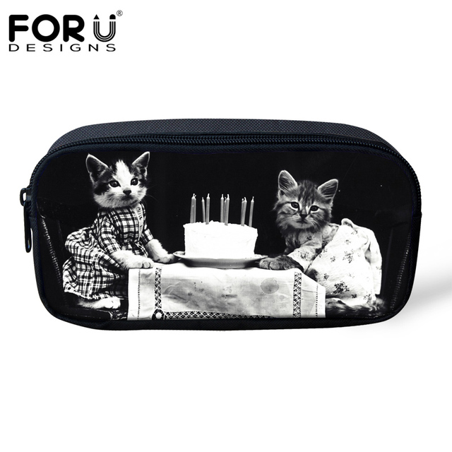 FORUDESIGNS Retro Women Travel Cosmetic Cases Make Up Bags Cute Animal Cat Dog Pattern Small Pencil Bags for Kids Pencil Cases