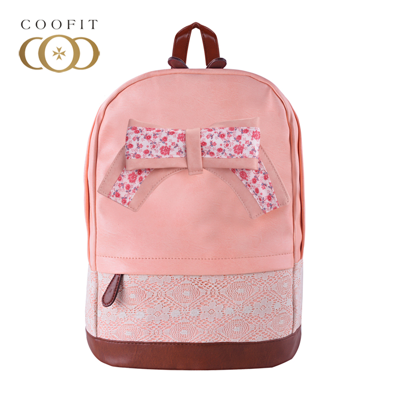 Coofit Women Pink Backpack Sweet Lace Floral Bowknot Backpacks For Girls Cute Children Female PU Leather Schoolbag Satchels unme children schoolbag for grade 1 3 girls backpack waterproof leather light for boy