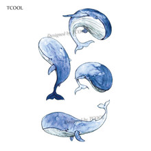 HXMAN Watercolor Blue Whale Temporary Fake Tattoo Body Art Sticker Waterproof Kids Hand Tattoo for Men 10.5X6cm A-235(China)
