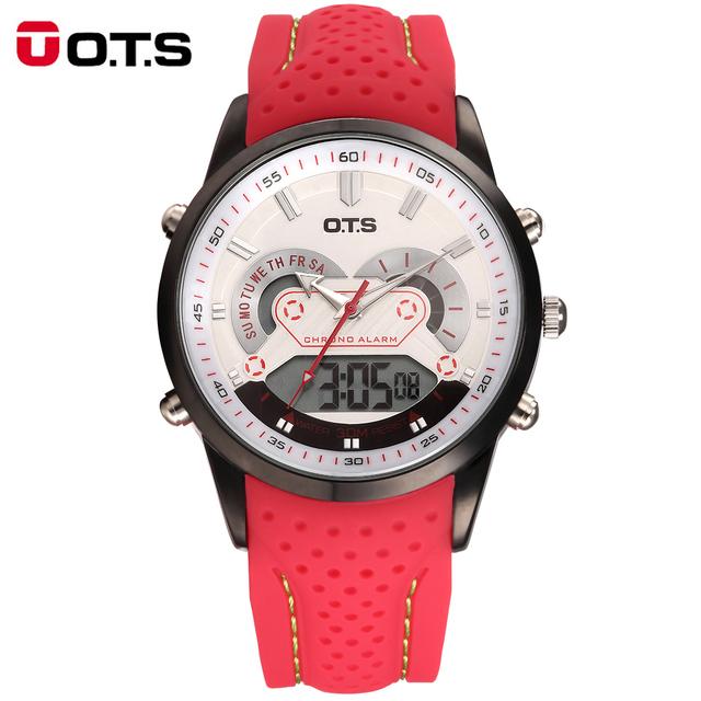 OTS Relógio de Quartzo Esportes Digitais dos homens Relógios Relogio masculino Relojes LED Vermelho De Alarme Borracha Militar relógios de Pulso À Prova D' Água