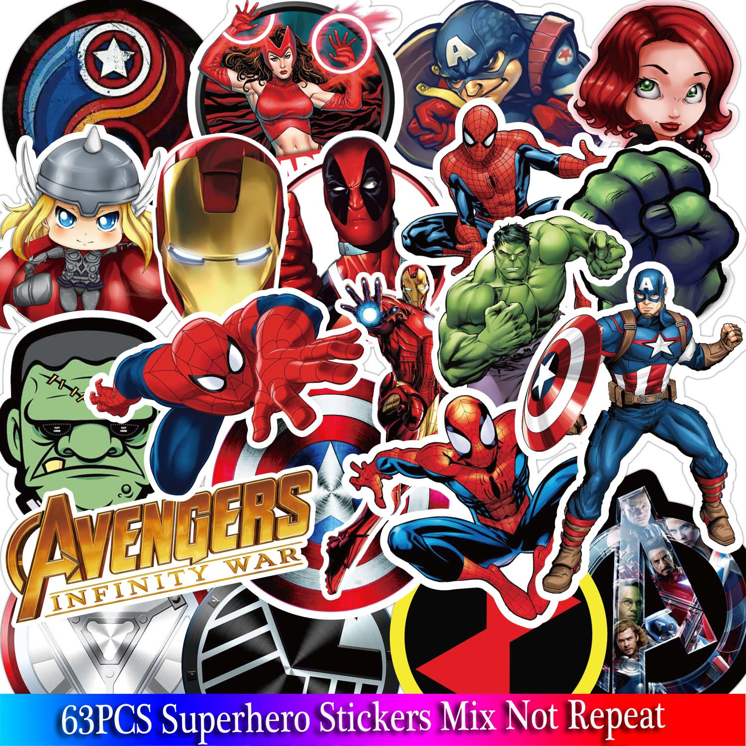 63PCS Marvel The Avengers Super Hero Stickers Pattern Sticker For Skateboard Guitar Luggage Motorcycle Car Phone Laptop Sticker