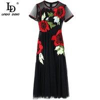LD LINDA DELLA Summer Fashion Runway Dress Women's Vintage Classic Black Mesh Embroidery Perspective Long Sleeve Dress