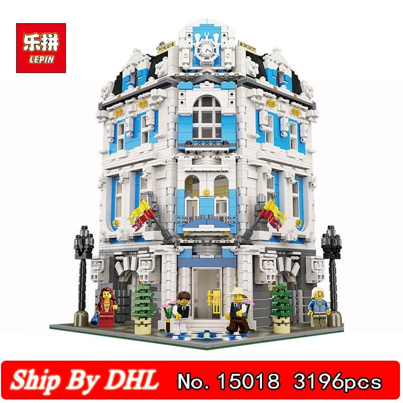 купить DHL Lepin 15018 City Street Series Sunshine hotel MOC Building Kits 3196pcs Blocks Children Toys Gift Compatible LegoINGs Bricks по цене 6731.75 рублей