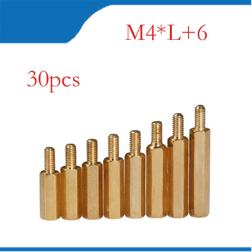 30Pcs M4+6mm Hex Nut Spacing Screw Brass Threaded Pillar PCB Computer PC Motherboard Standoff Spacer 60pcs set good quality brass m3 standoff spacer female spacing screws hex threaded spacer pillar nuts length 4 6 8 10 12 18 20mm
