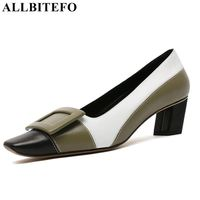 ALLBITEFO genuine leather women heel high heel shoes square toe early spring summer fashion girls comfortable shoes woman