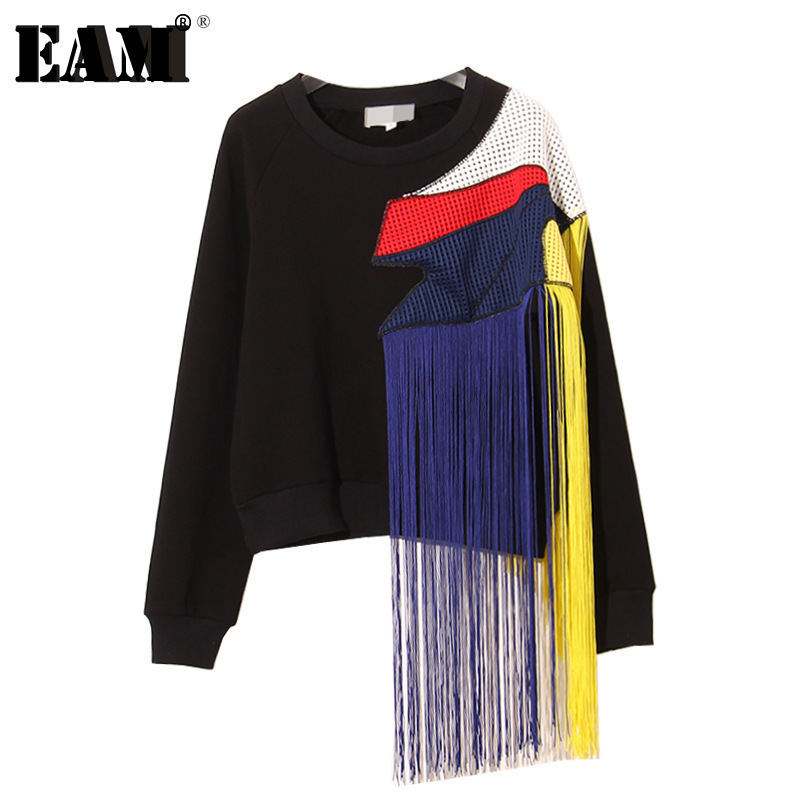 [EAM] 2019 Autumn Winter Round Neck Long Sleeve New Heavy Rainbow Tassel Stitching Mesh Yarn Large Thick Sweatshirts AS26011