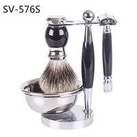 SV 576S Metal Stand Stainless Steel Bowl High Quality B Grade Badger Hair Shaving Beard Razor Brush Set Face Cleaning Tool