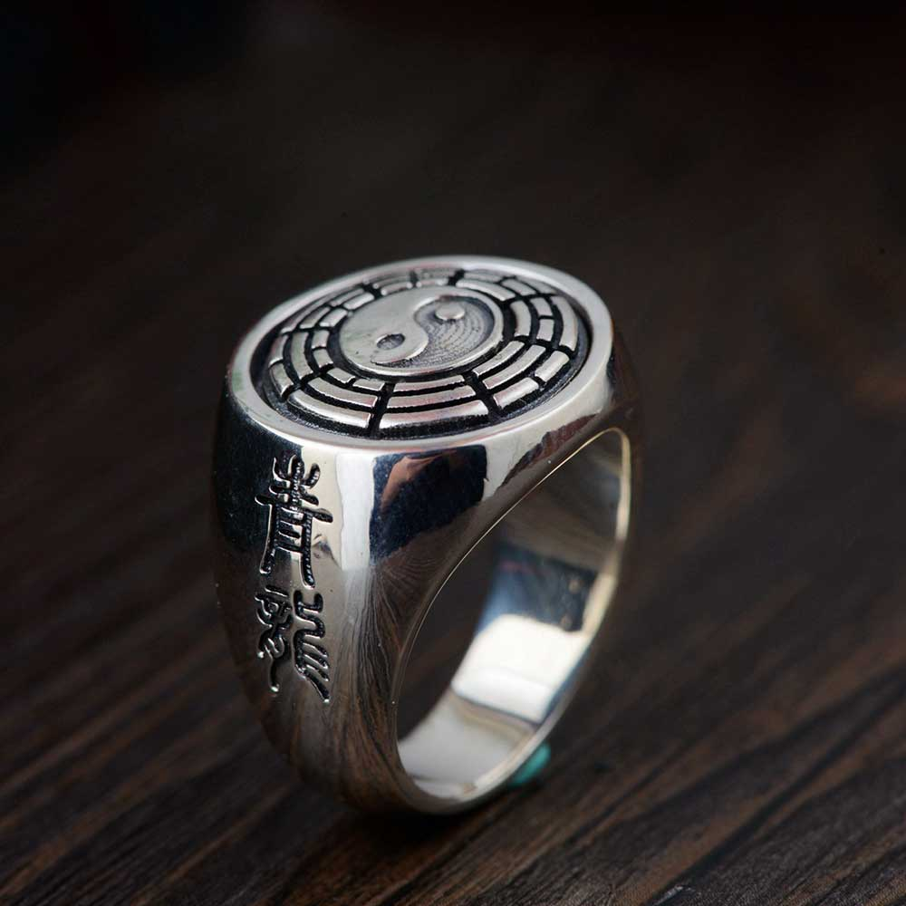 FNJ 925 Silver Yinyang Ring New Fashion the eight trigrams Real S925 Sterling Thai Silver Rings for Men Jewelry USA Size 8-12 цена