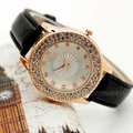Crystal Rhinestone Watch Women Leather Band Charm Quartz Wrist Watches Woman Lady Gift