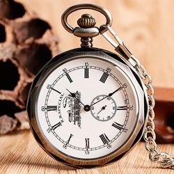 الفاخرة مفتوحة الوجه قطار الطلب الكبير الأرقام الرومانية الميكانيكية الهيكل العظمي ساعة جيب Steampunk اليد لف ساعة الرجال سلسلة نسائية هدية