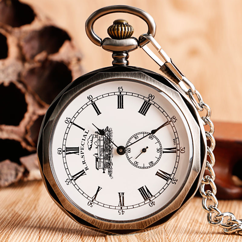 цены Luxury Open Face Train Big Dial Roman Numers Mechanical Skeleton Pocket Watch Steampunk Hand Winding Watch Men Women Chain Gift