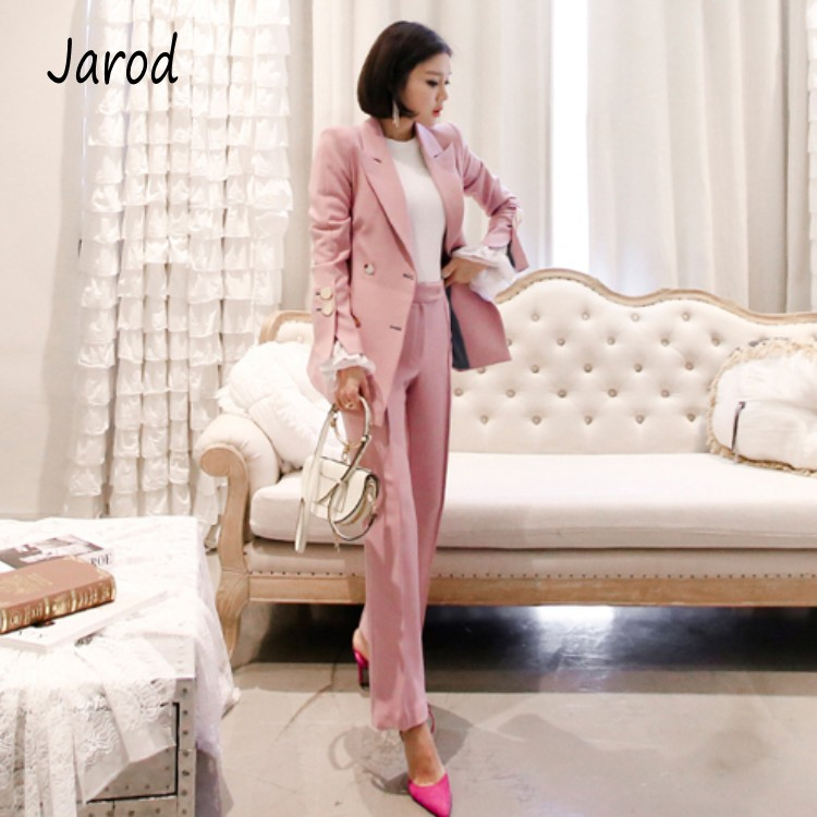 2019 Fashion 2 Piece Sets Pant Suits Double Breasted Pink Blazer Jacket Business Pant Office Lady