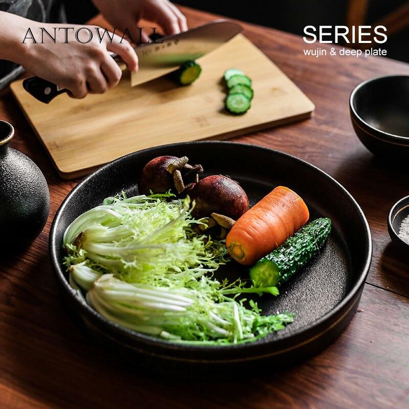ANTOWALL couleur noire givré or bord assiette à dîner ménage rond steak plat en céramique vaisselle profonde plaque plateau