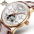 AESOP 9022 Switzerland watches men luxury brand skeleton Perpetual calendar automatic mechanical Tourbillon gray Leather