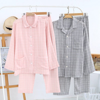 Couple pajama sets Spring Autumn Plaid Pijama thin gauze Cotton Woven Pajamas Men Pyjamas Women Sleepwear Full Sleeve homewear