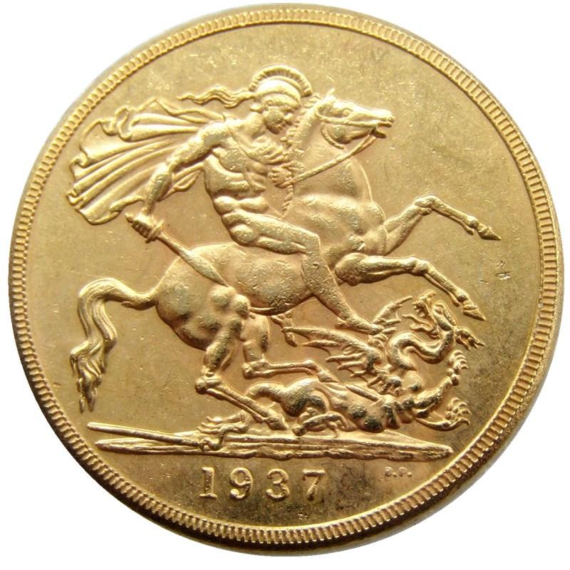 Nadir 1937 BÖYÜK BRITAIN KING GEORGE VI PROOF GOLD 2 funt - Ev dekoru - Fotoqrafiya 2