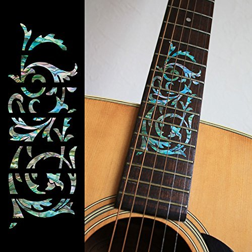 Fretboard Markers Inlay Sticker Decals for Guitar - Ornamental Swirl Mixed-Color guitar or bass tree of life fretboard silver color inlay ultra thin sticker