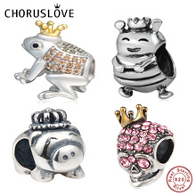Choruslove Animal Charm with King Crown Authentic 925 Sterling Silver Bead fit Original Pandora Charms Gift Bracelet DIY Jewelry authentic 925 sterling silver bead charm snake chain fit original pans bracelet with glue heart clasp for women diy jewelry