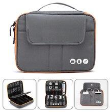 Acessórios eletrônicos de viagem acessórios, bolsa organizadora para viagem de nylon com 2 camadas tamanho perfeito adequado para i pad