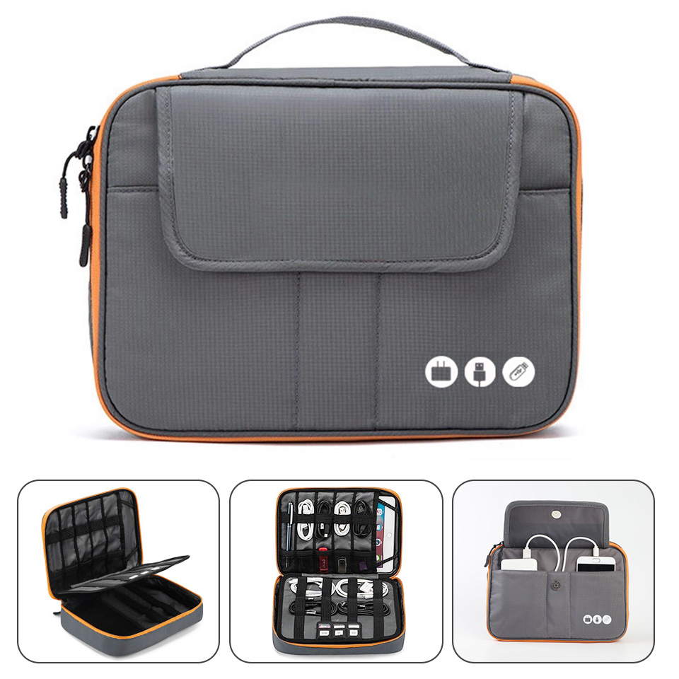 Acoki High Grade Nylon 2 Layers Travel Electronic Accessories Organizer BagTravel Gadget Carry Bag Perfect Size Fit for i Pad