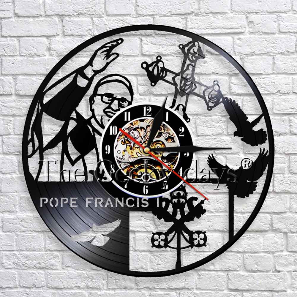 Catholic Vinyl Record 3D Wall Clock Modern Design Religious Celeb Pope Francis Catholicism Wall Clock Church Wall Decor