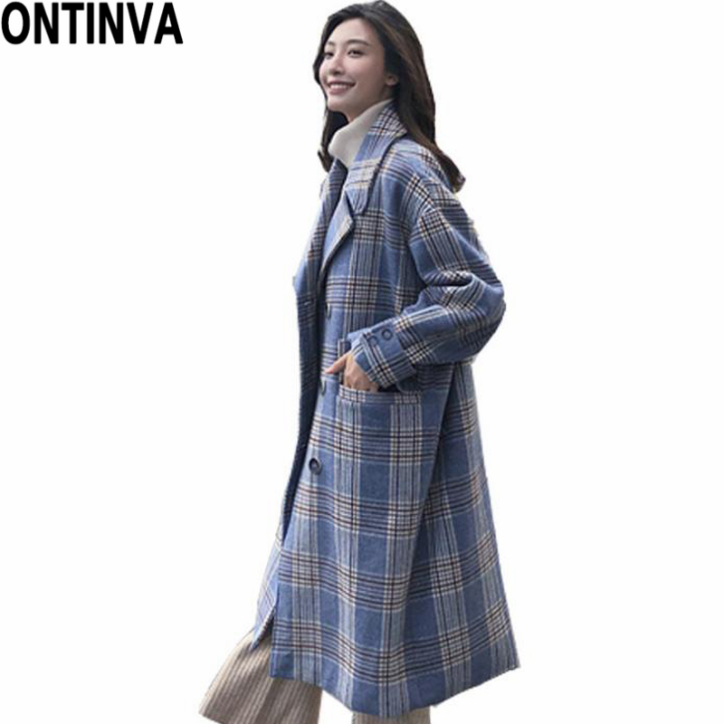 Blue Plaid Outwear Long Coat With Pockets Preppy Style Girls Korean Loose Winter Autumn Check Pattern 2019 Fall Fashion Clothing 100% Original