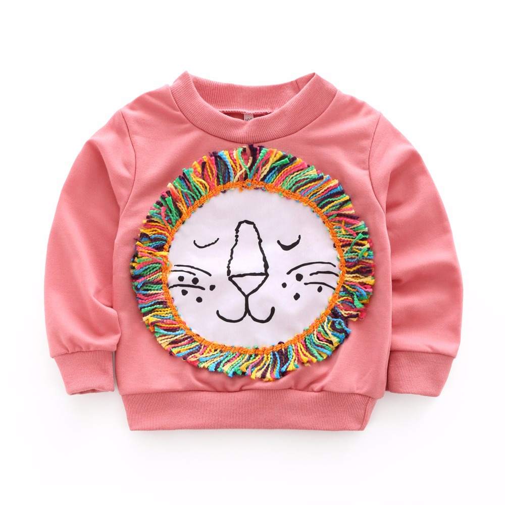 New 2018 Spring Baby Boys Girls Cotton T-shirts Tos Children Kids Cartoon Lion Tassel Jumpers Blouse Hot Sale