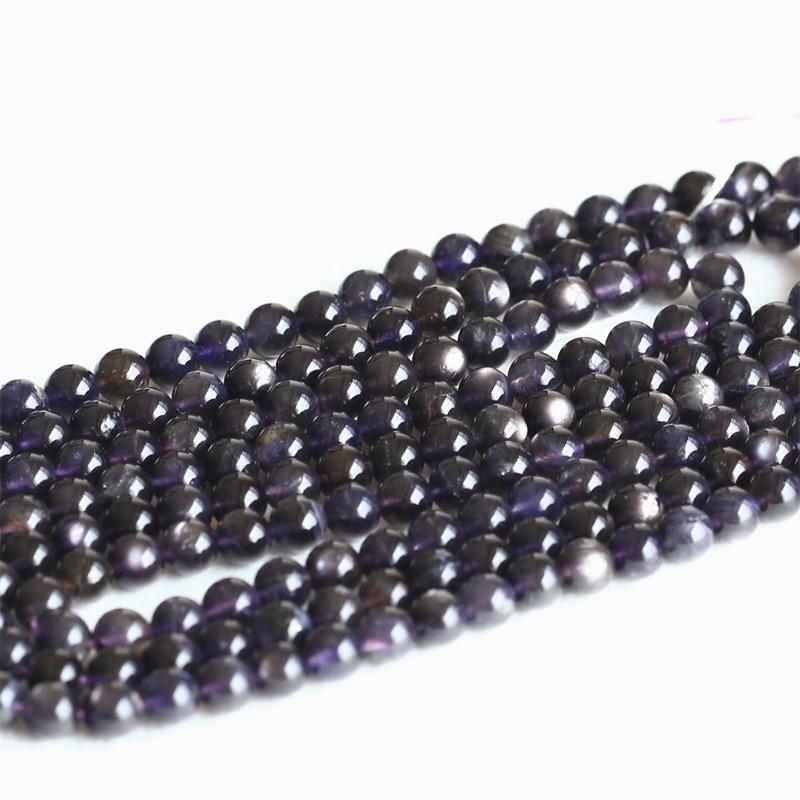 Wholesale Natural Genuine Dark Blue Star Iolite Lynx Stone Dichroite Flash Light Round Loose Beads 4-12mm 15 05004 dark blue loose fit knot pattern front sweatshirt