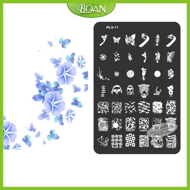 10 Unids/set BQAN Envío Gratis Hermosas Mariposas de Acero Inoxidable/Peces Patrones Nail Plate Estampación Kit MLS11