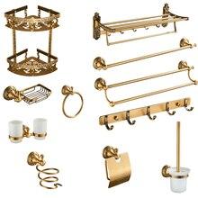 Античный латунный набор аксессуаров для ванной комнаты, Полка для полотенец, бар, подстаканники, фен, держатель для салфеток, держатель для бумаги, мыльница