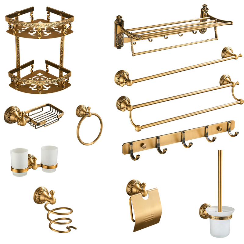 Antique Brass Bathroom Accessories Set Shelf Towel Bar Cup Holders Hairdryer Rack Tissue Holder Roll Paper Holder Soap Dish