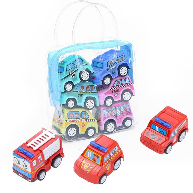 6pcs Lot Cartoon Mini Inertia Pull Back Car Toys Mobile Machinery Construction Vehicle Fire Truck Taxi Children Gift