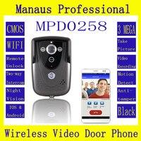 Профессиональные Умный Дом Черный HD 720 P Wifi Беспроводной Видео Домофонные Дверной звонок Домофон С GSM водонепроницаемый IP55 функция D258a
