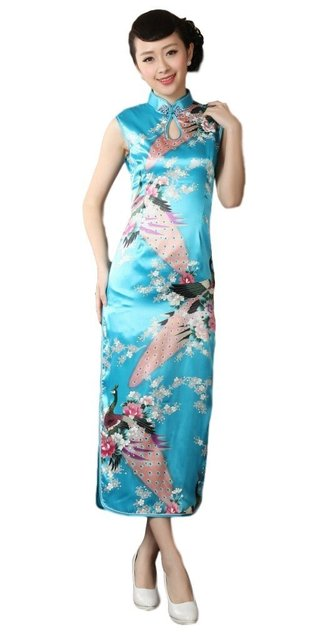 8136a56d9 free shipping Sleeveless peacock Print Qipao chinese traditional dress red  chinese women's satin vestidos chinos cheongsam