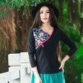 2017 Новый Повседневная Женщины Футболки Этнический Стиль С Длинным Рукавом Шею Известный Дизайнер женская Clothing Black Apparel