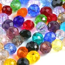 Большая распродажа 6-8 мм круглые Кристальные бусины разноцветные шармы стеклянные свободные бусины для изготовления украшений о