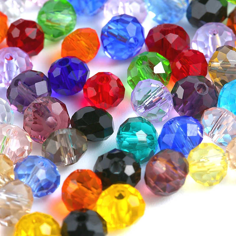 Big sale 6-8mm crystal round beads colorful charms glass loose beads for jewelry making Necklace Bracelet Accessories
