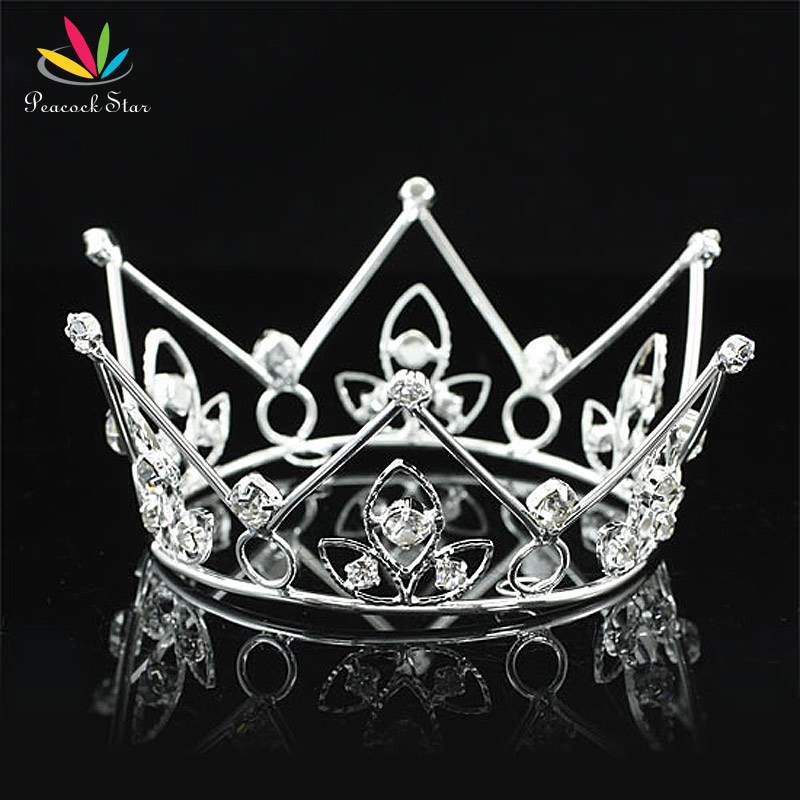 Peacock Star New Born Baby Silver Mini Crown Photo Prop Full Circle Round Tiara CT1135