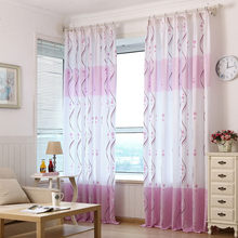 New Fresh Purple Print Sheer Window Curtains For Living Room Bedroom Country 100cm #3$(China)