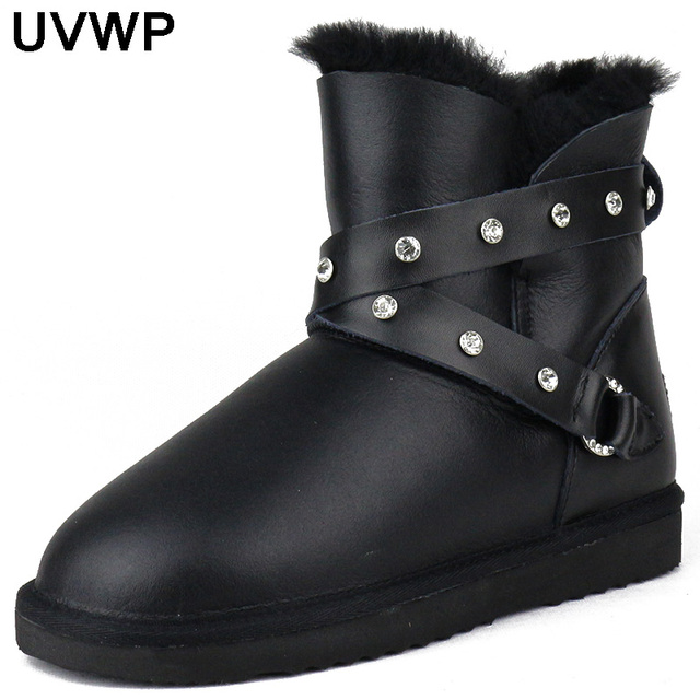 Hot Sale High Quality Fashion Women Snow Boots Winter Warm Boots Genuine Sheepskin Leather 100% Natural Fur Women  Boots