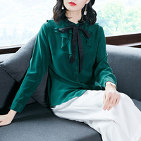 100% silk single breasted long sleeve blouse 2018 new runway women spring summer shirts high quality office lady ruffles shirts