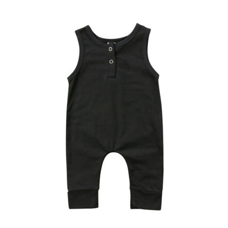 Hot sell Newborn Baby Boys Girls Clothes Black Sleeveless   Romper   Jumpsuit Harem Pants Outfits Baby Clothing