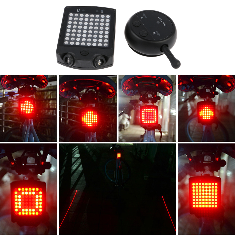 64 LED Rear Tail Light Bike Turn Signals Safety Warning Bicycle Remote Wireless