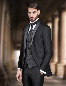 Hot Sale One Button Black Groom Tuxedos Shawl Lapel Groomsmen Mens Wedding Prom Suits (Jacket+Pants+Vest+Tie) NO:132