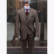 2017 TERNO Slim Fit коричневый твид свадебные мужской костюм Slim Fit Тощий комплект из 3 предметов смокинг на заказ Для мужчин S Костюмы жениха Блейзер TERNO masculino
